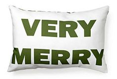 Very Merry 14x20 Pillow, White/Green