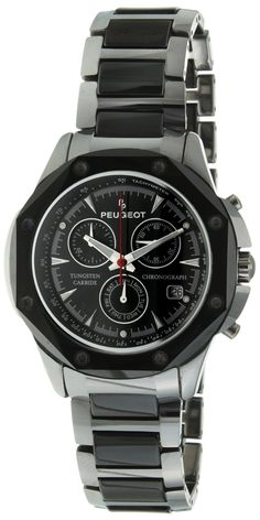 #Peugeot #Men's 923 | #Bydepot  #WATCHES Peugeot, Tungsten Carbide, Chronograph, Omega Watch, Ceramics, Watches, Stuff To Buy, Accessories, Black
