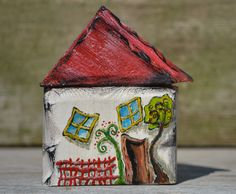 Mini farmhouse hand painted whimsy wooden cottage, unsual mini decor, new home gift, Tiny Wooden Houses Stone Art Painting, Rock Painting, House Painting, Painted Wood, Painted Rocks, Hand Painted, Wooden Cottage, Wooden House, Salvaged Wood