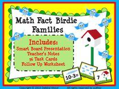 Math Fact Birdie Families:  Smart Board Presentation/ Teacher's Notes/ 36 Task Cards/ Follow Up Worksheet