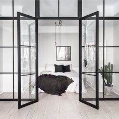 industrial black mullion windows:)