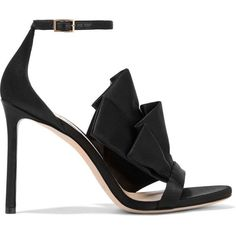 Jimmy Choo Kami ruffled satin sandals ($765) ❤ liked on Polyvore featuring shoes, sandals, heels, jimmy choo, black, black stilettos, black strap sandals, embellished sandals, black heeled sandals and high heel stilettos