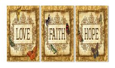 Stupell Home Décor Love, Faith, Hope Tapestry 3-Piece Triptych Wall Plaque Set, 11 x 0.5 x 17, Proudly Made in USA * Awesome product. Click the image (This is an amazon affiliate link. I may earn commission from it)
