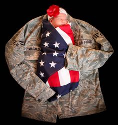 Baby Picture. Military. Tribute to Heroes. American flag. Baby photography. Military jacket.
