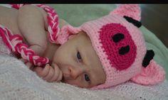 Crochet Pig Hat newborn by SweetBabiesinYarn on Etsy, $20.00