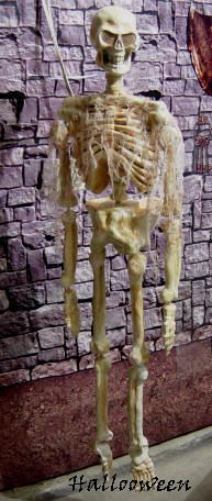 Faux fini sur le squelette de plastique pour le faire plus réaliste. Bricolages / décorations d'halloween à fabriquer soi-même (DIY) expliquées étapes par étapes avec photos. Tous les détails de la réalisation sur : http://www.maisonhanteesecretqueen.com #halloween #maison #hantee #projet #decoration #decor #squelette