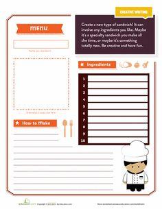 Worksheets: Create a Sandwich