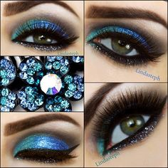 Blue Glitter eye make-up, a little sparkle goes a long way! - Linda ...