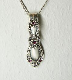Vintage Spoon Necklace, Heritage 1953, Fuchsia Swarovski Crystals
