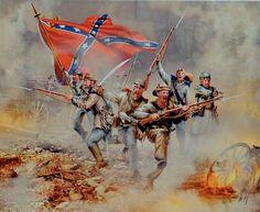 """""""Grito Rebelde"""". Artista Roberta Wesley. Soldados confederados gritando en la batalla."""