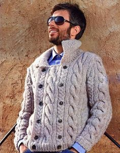 MADE TO ORDER Sweater men hand knitted sweater cardigan pullover men clothing handmade Cardigan En Maille, Shawl Collar Cardigan, Knit Cardigan, Male Cardigan, Aran Sweaters, Hand Knitted Sweaters, Men's Cardigans, Handgestrickte Pullover, Knitting Designs
