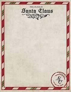 Imprimible gratis Carta a Santa Claus - Free Letter From Santa Printable Whimsical Christmas, Noel Christmas, Christmas Letters, Father Christmas, Christmas Morning, Pocket Letter, Santa Letter Template, Free Letters From Santa, Printable Letters