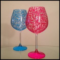 In stock. Hand painted wine glass.  Abstract by SpitsnogleDesigns, $65.00