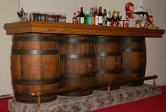 Skip the bar, this would be nice with one as a sink and the rest counter top for the kitchen. Whiskey Barrel Bar, Wine Barrel Table, Wine Barrel Furniture, Bar Furniture, Wine Barrels, Modern Furniture, Furniture Design, Whiskey Room, Barris