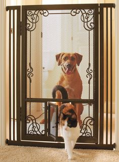 Crafted with fine mesh panels instead of traditional bars, our Tension-mount Dual Door Gate can safely contain even the smallest pets.