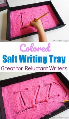Colored Salt Writing Tray For Reluctant Writers Get them involved in their writing skills while having fun. Writing Activities For Preschoolers, Preschool Writing, Alphabet Activities, Preschool Learning, Literacy Activities, Kids Learning, Preschool Kindergarten, Preschool Ideas, Kindergarten Writing Activities