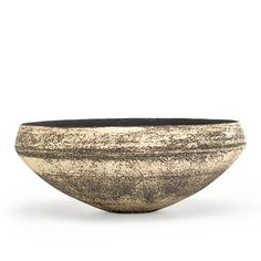 "HANS COPER (1920 - 1981) Stoneware bowl with interior resist design, manganese glaze and porcelain slip, England, 1950s; Artist's chopmark; 2 3/4"" x 7"""