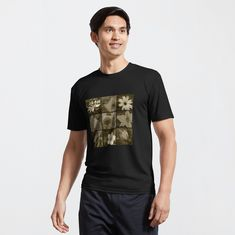 """""""Sepia flowers montage"""" Active T-Shirt by WiseDogDesigns 