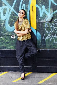 Sanna Naapuri AW12 Look 4: Keffiyeh Silk Print TShirt & Wool Draped Trousers
