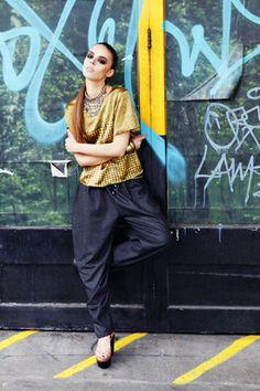 Sanna Naapuri AW12 Look 4: Keffiyeh Silk Print TShirt & Wool Draped Trousers