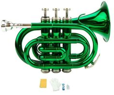 Merano B Flat Green Pocket Trumpet With Case+Mouth Piece;Valve Oil;A Pair Of Gloves;Soft Cleaning Cloth, 2015 Amazon Top Rated Trumpets #MusicalInstruments