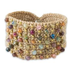 NOVICA Hand Crocheted Wristband Cuff Bracelet with Agate and Labradorite Stones, 'Life in Pai' * You can get more details by clicking on the image.
