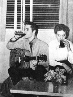It's Elvis with his 19 year-old date Martha Lou Pendergrass, at a party at songwriter and musician Charlie Underwood's apartment in the Holiday Towers in Memphis, on Monday, April 15, 1957. She went to Whitehaven High School in Memphis, graduating in the 1955 class.