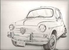 Fiat 600 Club – Passion for Fitito – Design of Fiat 600 – – Off Topic – Themes … - Exotic Cars Fiat 600, Fiat 500 Pop, Art Drawings Sketches, Outline Drawings, Avengers Drawings, Antique Cars, Vintage Cars, Fiat Abarth, Super Sport Cars