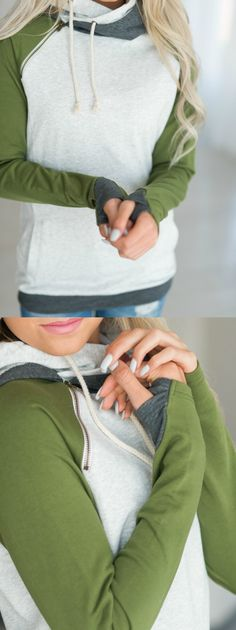 Olive Sleeve Double Hooded Sweatshirt! Such a cute and easy Fall Outfit Idea.