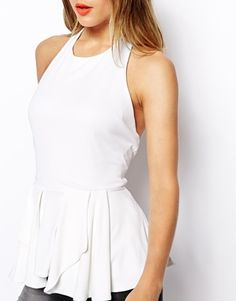 Enlarge ASOS Peplum Top with Halter Neck and Open Back in Crepe