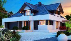 Projekt domu z poddaszem Alicja X 2G o pow. 145,91 m2 z obszernym garażem, z dachem kopertowym, z tarasem, sprawdź! Home Fashion, Planer, Beautiful Homes, Exterior, Mansions, Houses, House Styles, Home Decor, Small Modern House Plans