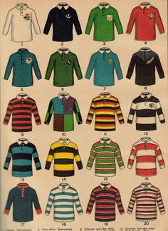 """Here is an early XXth century rugby print from Boy's Own Magazine. This colourful plate shows """"some famous rugby football jerseys"""". As the caption is difficult to read (I should re-up a hi-res picture very soon.), let me identify them. Preppy Men, Preppy Style, Tommy Hilfiger, International Rugby, Rowing Blazers, Ivy League Style, Ivy Style, Rugby League, Rugby Players"""