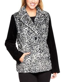 Loving this Gray Lynx Washable Suede & Faux Fur Jacket - Plus Too on #zulily! #zulilyfinds