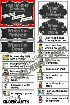 """Tired of hearing """"Teacher I'm Donenow what dod I do""""?  Create a Fast Finisher chart to keep your student engaged while the rest of the classes finishes."""