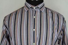 Thomas Dean Mens Long Sleeve Multi-Color Striped Casual Dress Shirt sz L Large #ThomasDean #ButtonFront