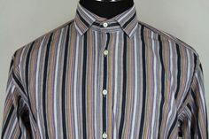 Thomas Dean Mens Long Sleeve Multi-Color Striped Casual Dress Shirt sz L Large #ThomasDean #ButtonFront