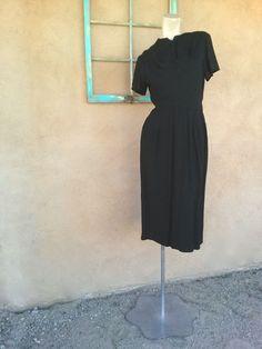 Vintage 1950s Little Black Dress Wool Gabardine B36 W28 US8 2014415 - pinned by pin4etsy.com
