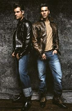 Rufskin ads featuring Steve Boyd and Zeb Ringle in #leather jackets for Dorian magazine.