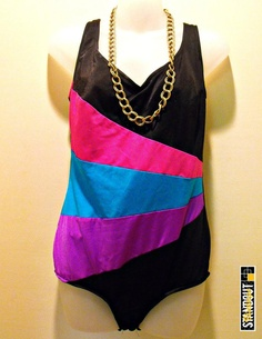 """80's Vintage Carriage Court COLOR BLASTS"" bathing suit.  I HAD to share this because I had this suit in the 80's!!!! Lol"