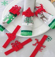 6 ronds de serviettes en feutrine Premiers flocons