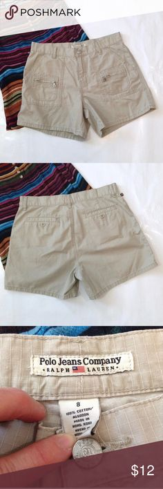 """Polo Jeans Co khaki shorts EUC! All zippers work perfectly.  Metal button closure.  No fraying or wear at seat.  APPROX FLAT MEASUREMENTS  16"""" ↔️ Waist  10"""" Rise 5"""" Inseam 12"""" Leg opening BG19 Polo Jeans Company Shorts"""