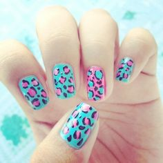 pinl and blue Leopard print nails pretty for summer or spring nail designs
