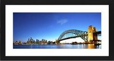 Sydney Harbour Bridge Framed Print, Black, Contemporary, White, White, Single piece, 10 x 24 inches