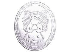 """3.75"""" Repujado Oval Sign - Angel. Only $3.50 for 6 pieces."""