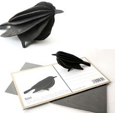 Wooden postcards, by designer Anne Paso. Send them flat & your friends can assemble them.