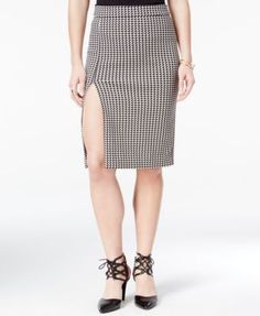 XOXO Juniors' Front-Slit Houndstooth Pencil Skirt