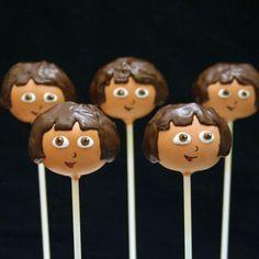 12 Cake Pops inspired by Dora the Explorer for por SweetWhimsyShop