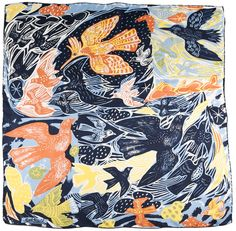 "Printed silk scarf by Mark Hearld from his ""Birds and Beasts"" exhibition at Yorkshire Sculpture Park, 2012"
