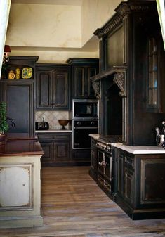 Distressed black cabinets.