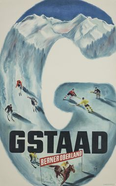 athensfever · Gstaad Switzerland Lifestyle · ALEX WALTER DIGGELMANN  (1902-1987) GSTAAD lithograph 7a0bc2801